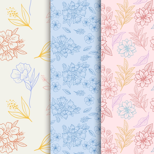 Hand drawn spring pattern collection Free Vector