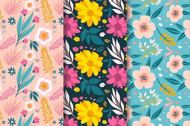 손으로 그린 봄 패턴 컬렉션 무료 벡터