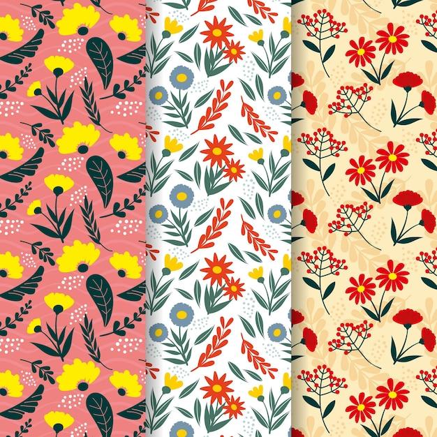 手描きの春のパターンコレクション 無料ベクター