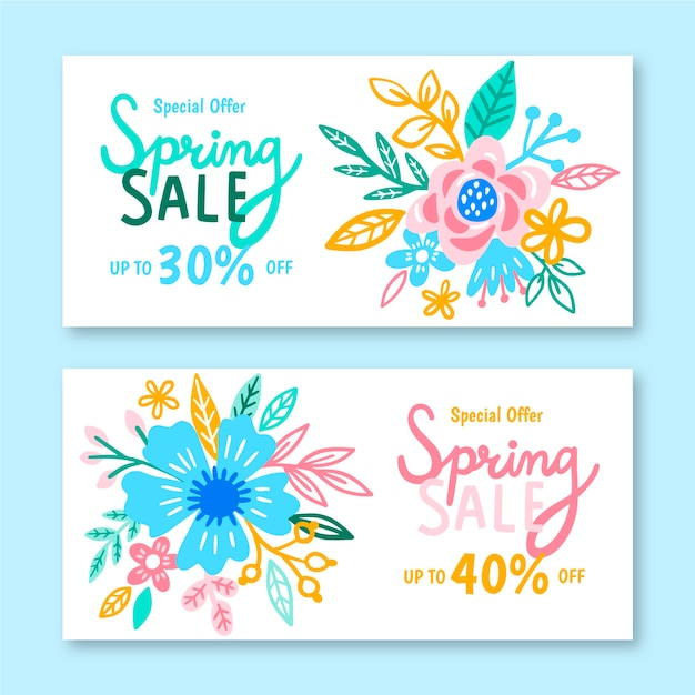 Hand-drawn spring sale banner collection design Free Vector
