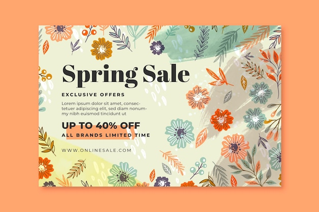 Hand drawn spring sale banner template Free Vector