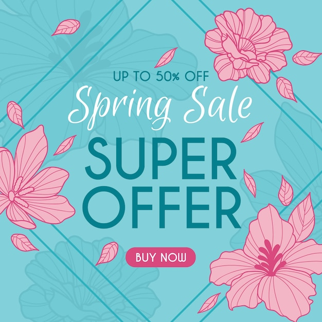 Hand drawn spring sale banner Free Vector