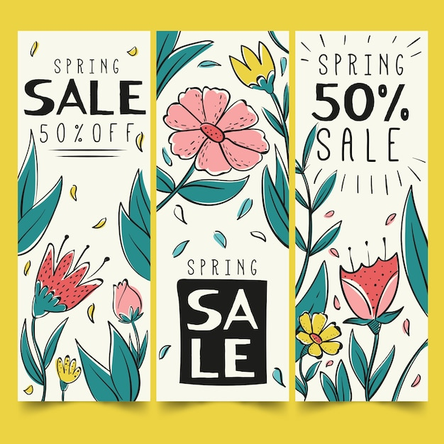 Hand drawn spring sale banners pack Free Vector