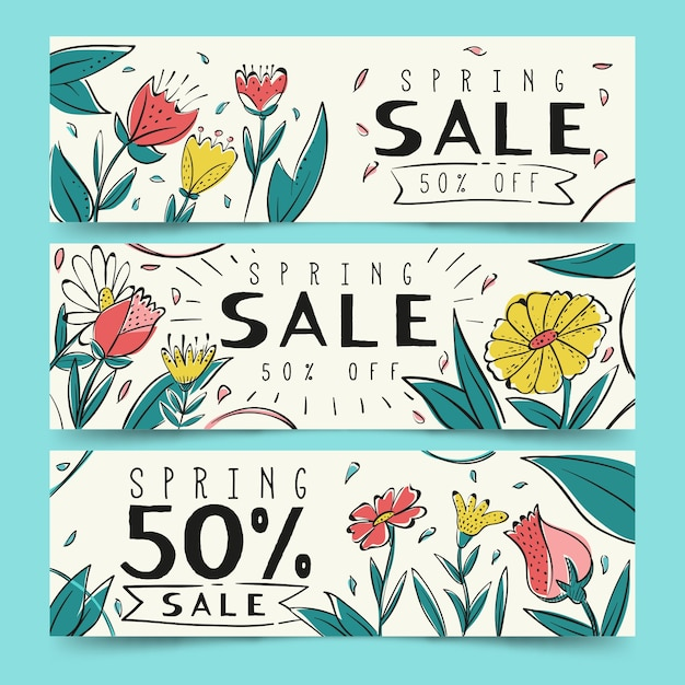 Hand drawn spring sale banners set Free Vector