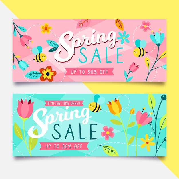 Hand drawn spring sale banners Free Vector