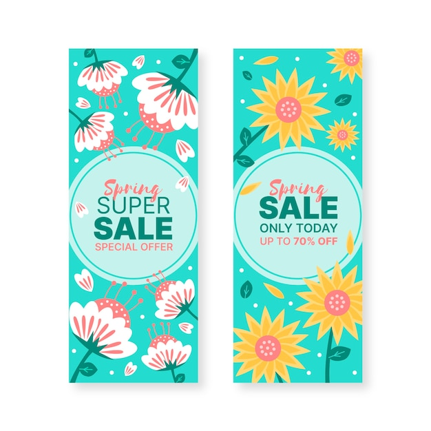 Hand-drawn spring sale banners Free Vector