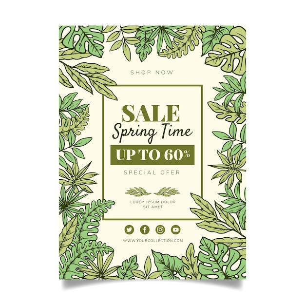 Hand drawn spring sale flyer template concept Free Vector