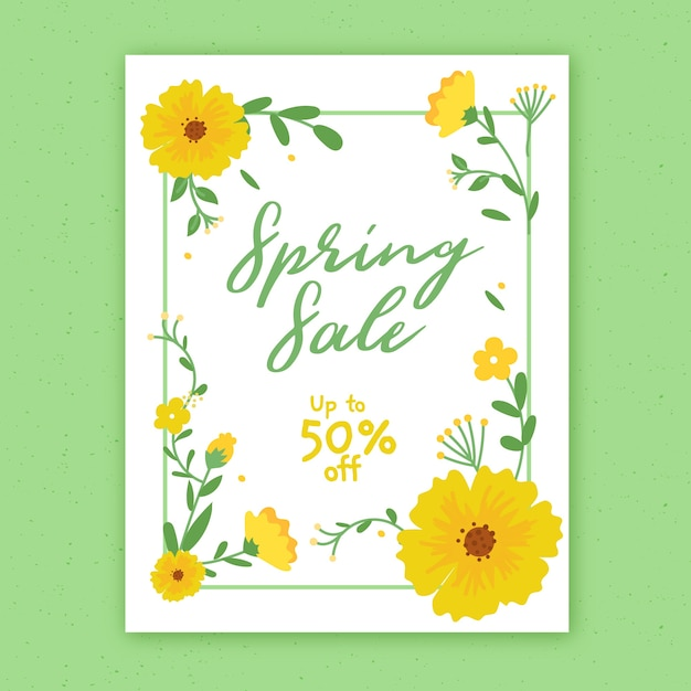 Hand drawn spring sale flyer template with flowers Free Vector