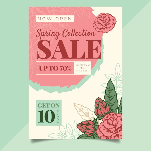 Hand drawn spring sale flyer template Free Vector