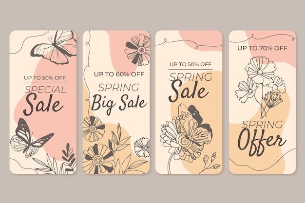 손으로 그린 봄 판매 instagram 이야기 세트 무료 벡터