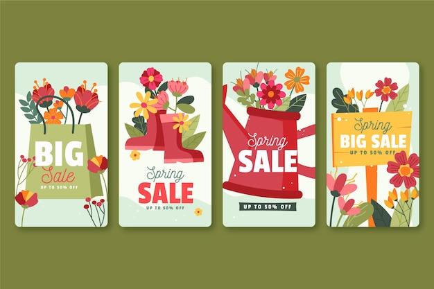 손으로 그린 봄 판매 instagram 이야기 무료 벡터