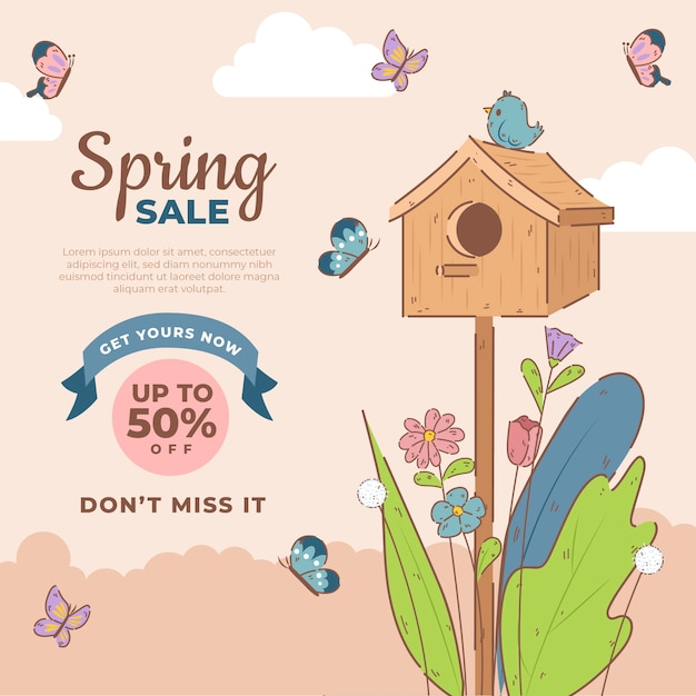 Hand drawn spring sale with birds and butterflies Free Vector