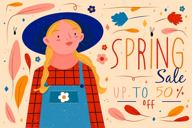 Hand drawn spring sale with girl with blonde hair Free Vector