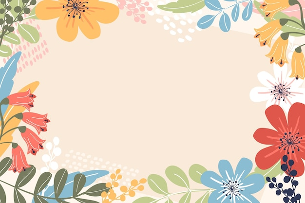 Hand drawn spring wallpaper with empty space Free Vector