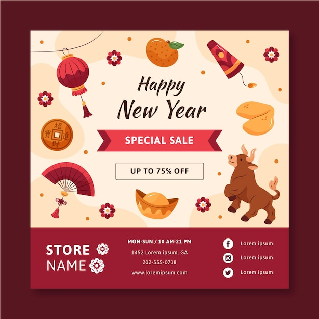 Hand-drawn square flyer template for chinese new year Free Vector