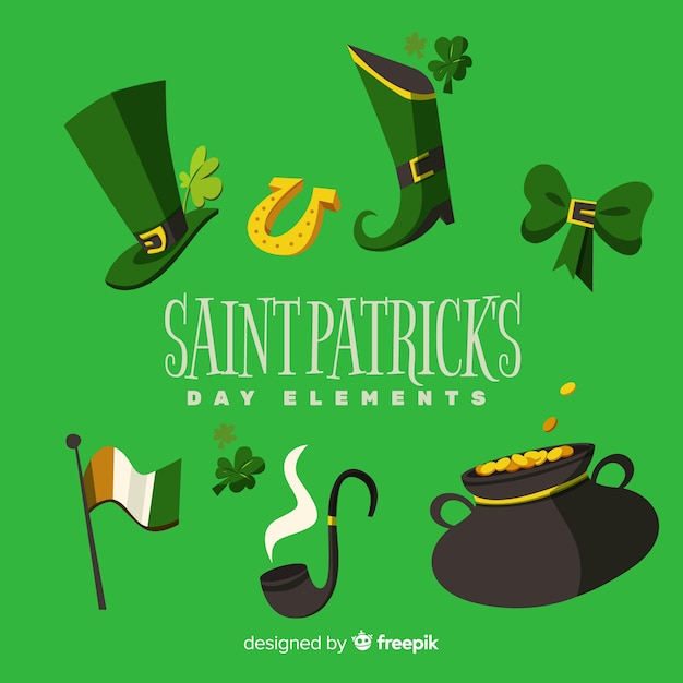 Hand drawn st patrick day elements collection Free Vector