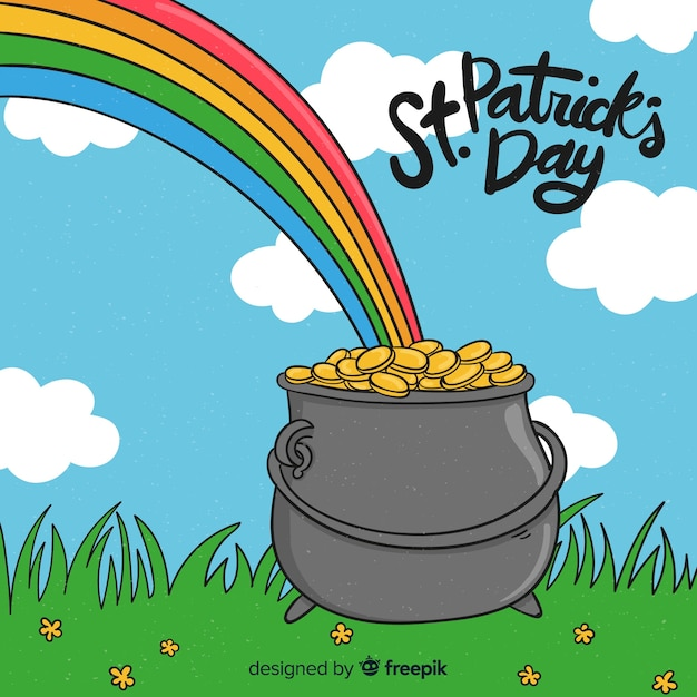 Hand drawn st. patrick's day background Free Vector