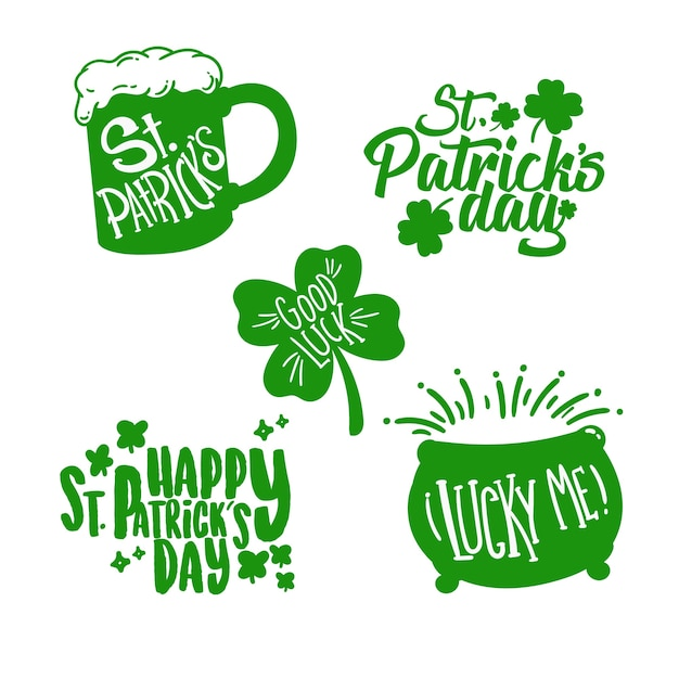 Hand drawn st. patrick's day badge collection Free Vector