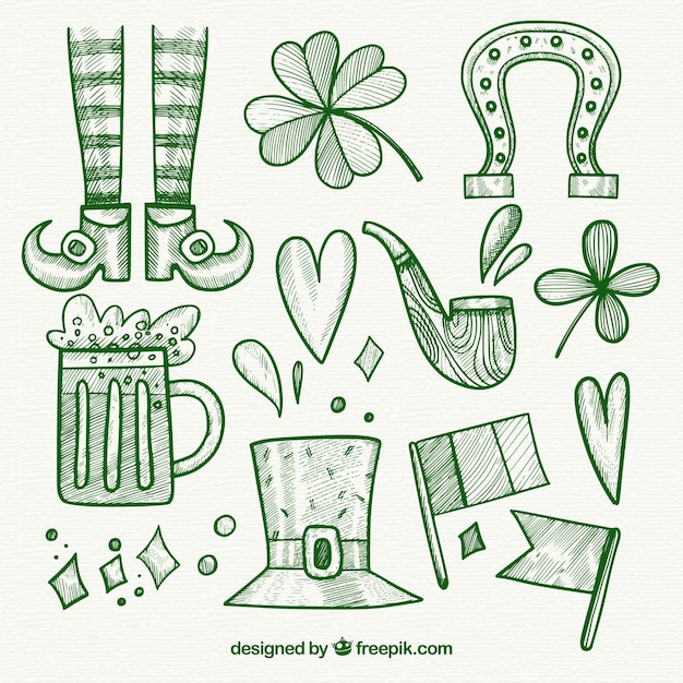 Hand drawn st. patrick's day element collection Free Vector