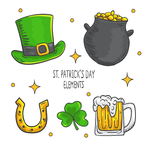 Hand drawn st. patrick's day elements collection Premium Vector