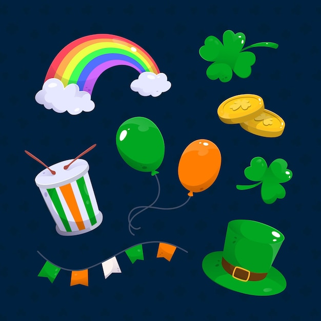 Hand-drawn st. patrick's day elements set Premium Vector