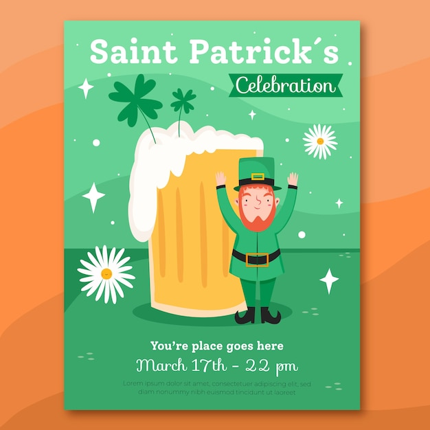 Hand drawn st. patrick's day flyer template Free Vector