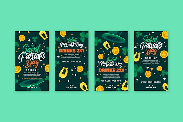 Hand drawn st. patrick's day instagram stories Free Vector