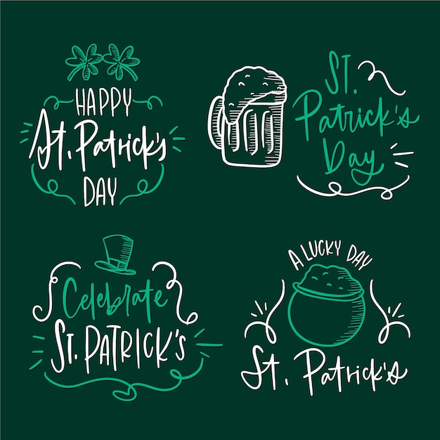 Hand drawn st. patrick's day label collection Free Vector