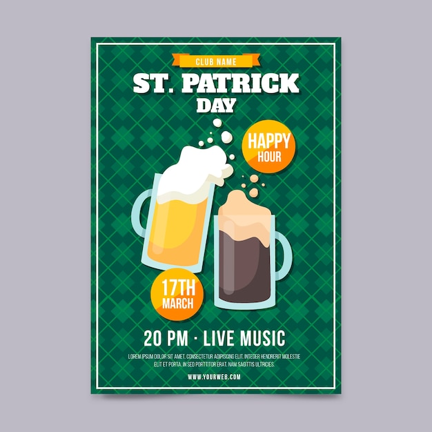 Hand drawn st. patrick's day poster template Free Vector