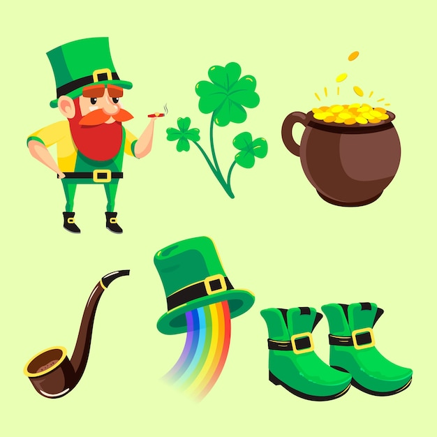 Hand-drawn st. patricks day element collection Free Vector