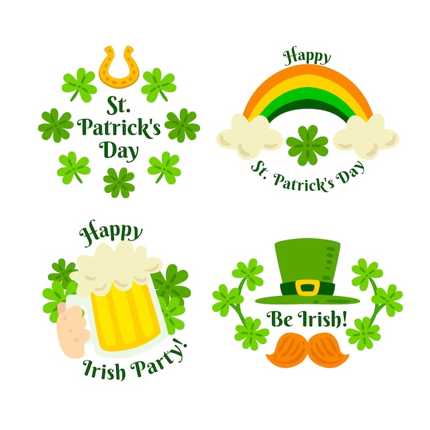 Hand-drawn st. patricks day label collection concept Free Vector