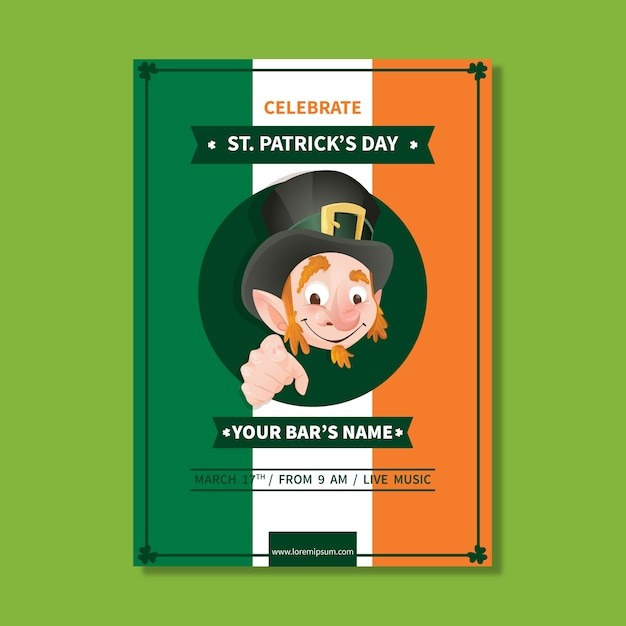 Hand drawn st patricks day poster template Free Vector