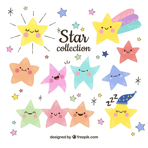 Hand drawn star collection Free Vector