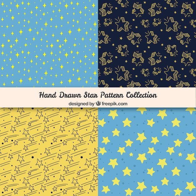 Hand drawn star patterns Free Vector