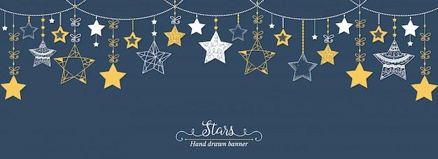 Hand drawn stars banner Premium Vector