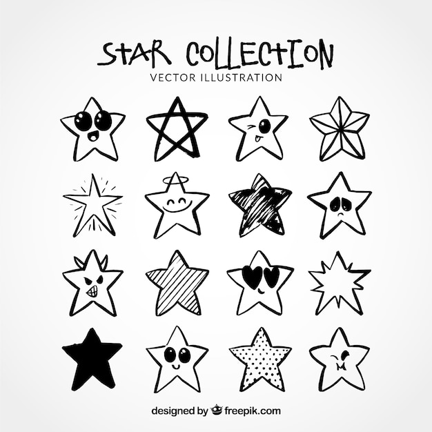 Hand drawn stars collection  Free Vector