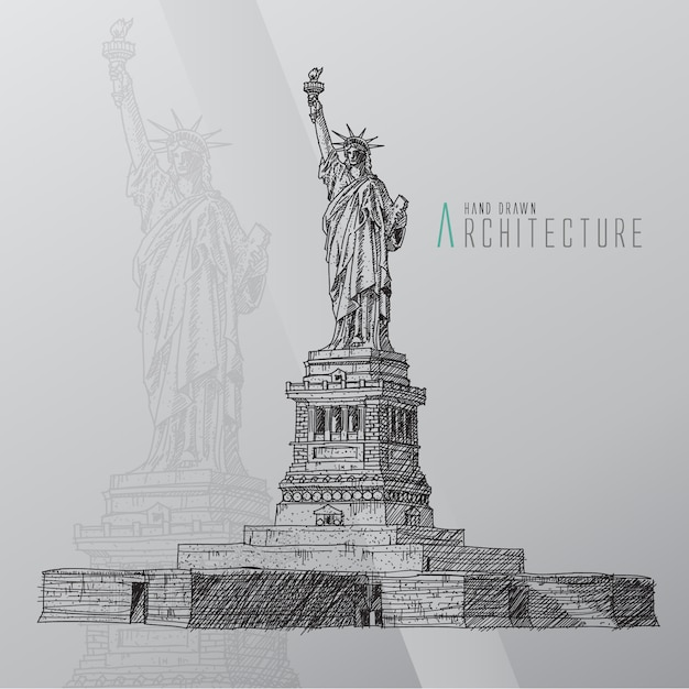 Hand drawn statue of liberty Free Vector