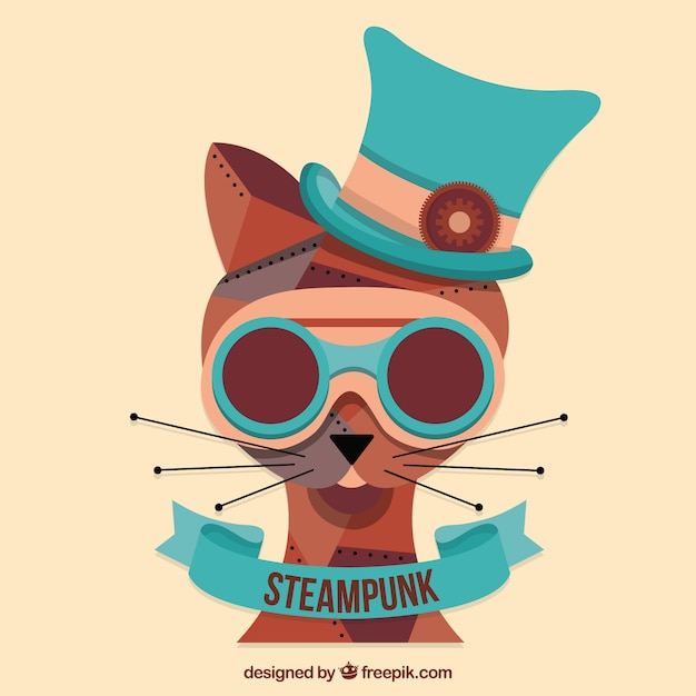 Hand drawn steampunk cat  Free Vector
