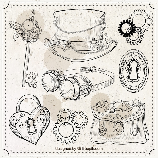 Hand drawn steampunk elements set Free Vector