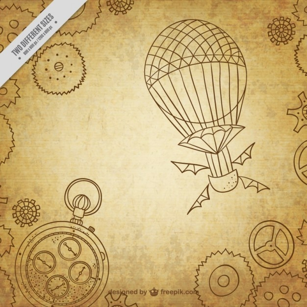 Hand drawn steampunk machinery background Free Vector