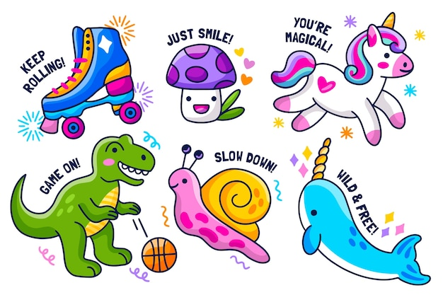 Hand-drawn sticker collection Free Vector