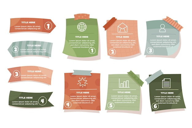 Hand drawn sticky notes boards infographics Premium Vector