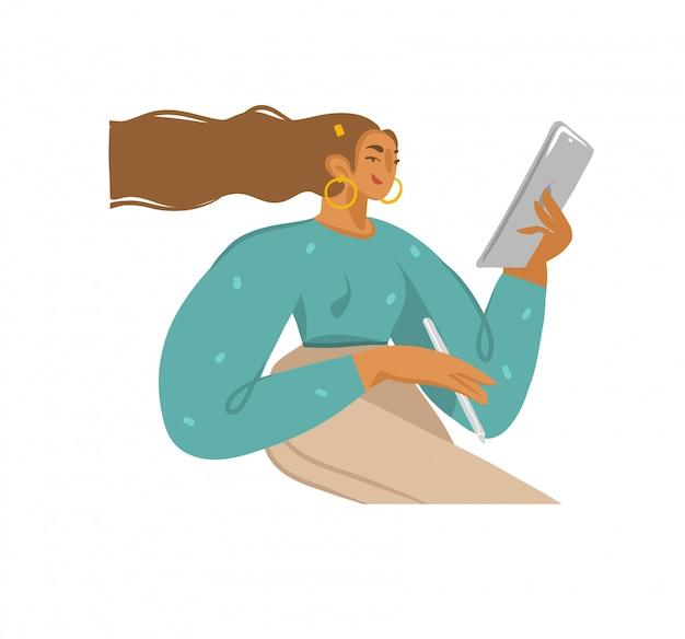 若い女の子と設定された手描きストック抽象的なグラフィックイラストコレクションは白い背景の上にタブレットコンピューターとスマート鉛筆を使用します Premiumベクター