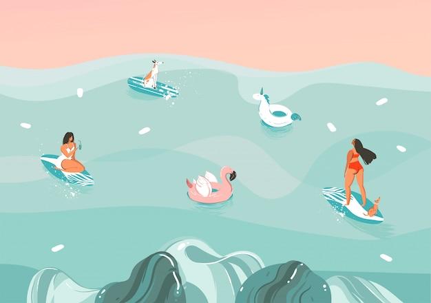 海の波の風景、水泳、色の背景でサーフィンで面白い日光浴家族の人々のグループで手描きストック抽象的なイラスト Premiumベクター