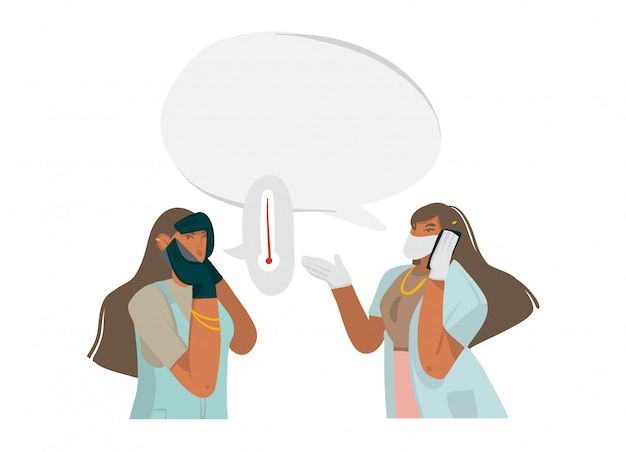 Hand drawn  stock abstract  illustration with female doctor gives recommendations by phone, well protected in a face mask and gloves in hospital  on white background Premium Vector