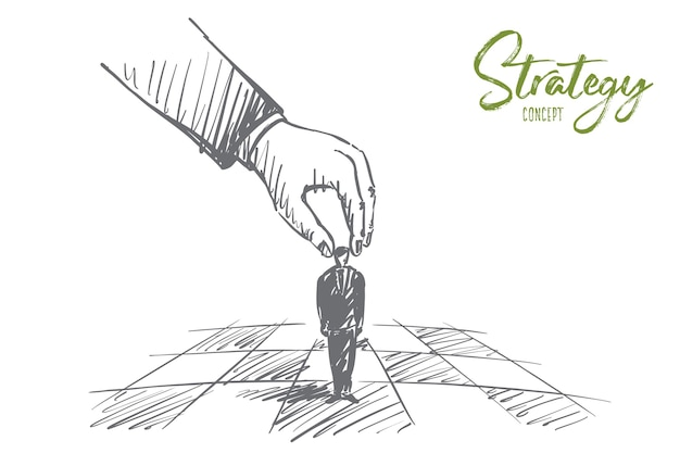 Hand drawn strategy concept sketch with human hand Premium Vector
