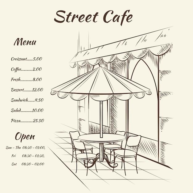 Menu di caffè di strada disegnato a mano Vettore gratuito