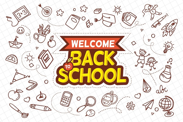 Hand drawn style back to school concept Free Vector