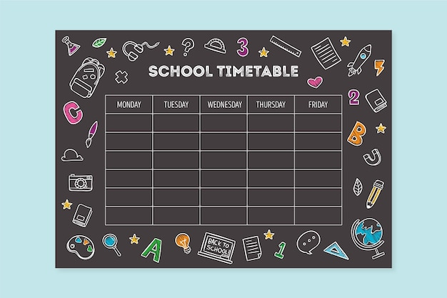 Hand drawn style back to school timetable Free Vector