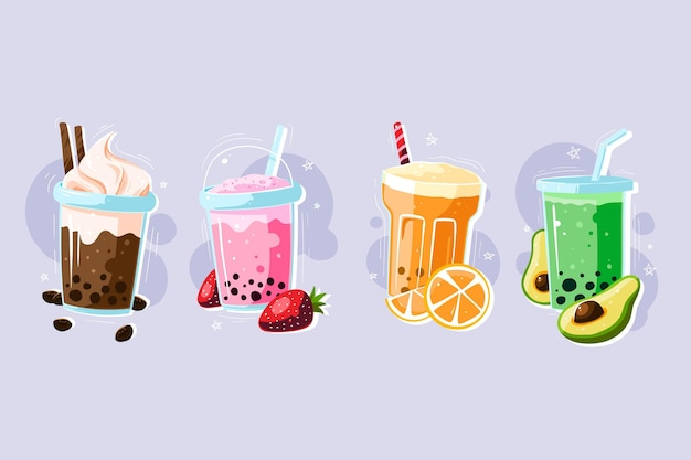 Hand drawn style bubble tea collection Free Vector